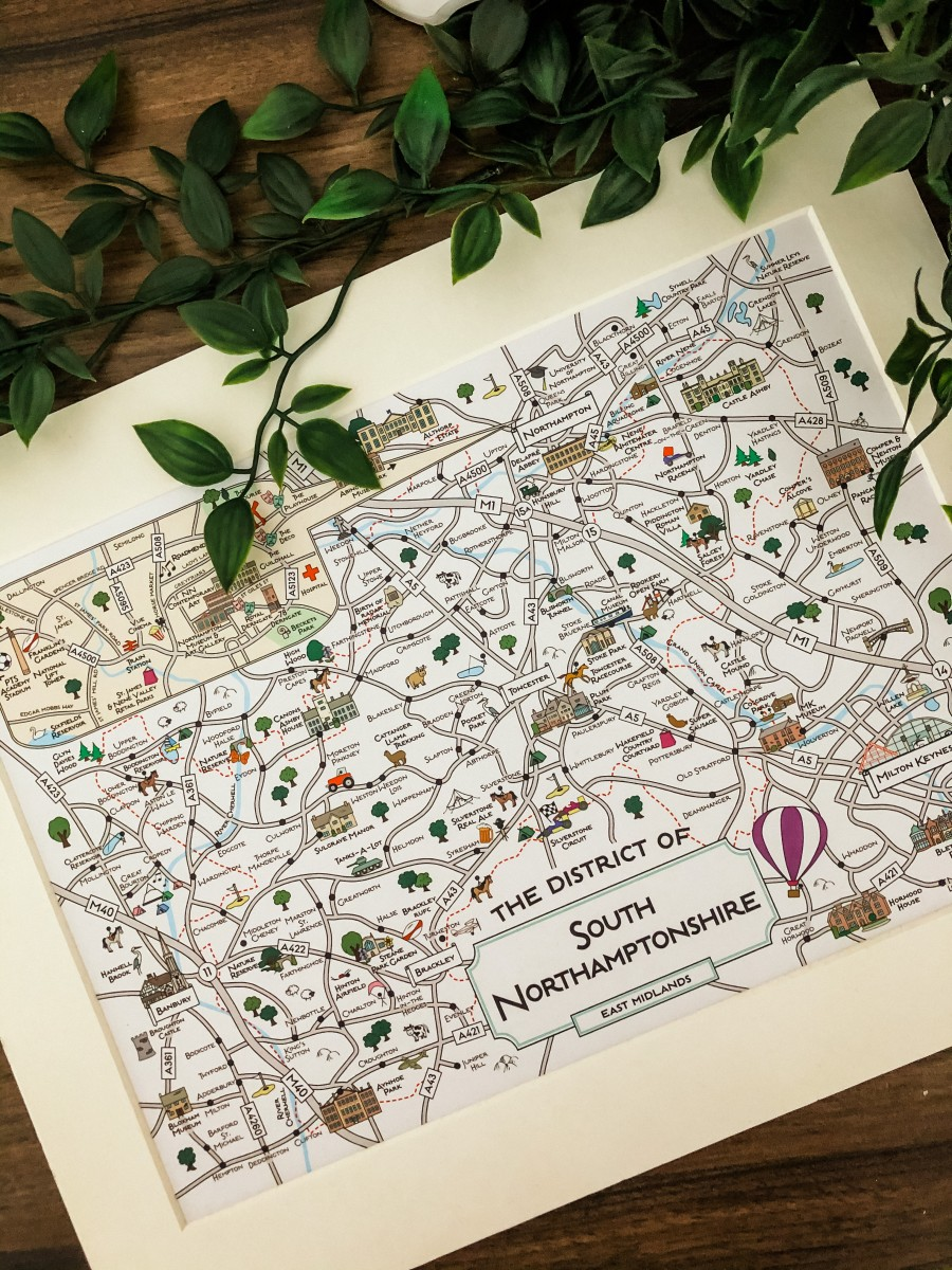 Cute Maps South Northamptonshire Print