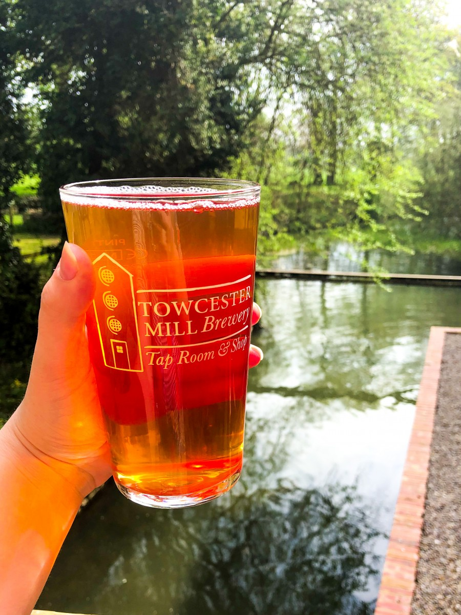 A pint of beer at Towcester Mill Brewery